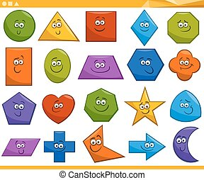 cartoon basic geometric shapes - Cartoon Illustration of ...