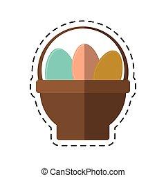 cartoon basket with easter egg
