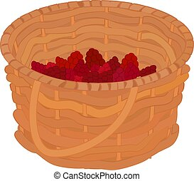 cartoon basket with raspberries isolated on white