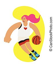 Cartoon basketball girl ball possesion try to rush