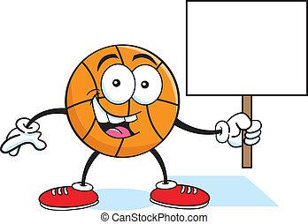 Cartoon basketball holding a sign