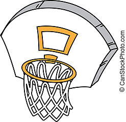 Basketball Hoop - Cartoon Basketball Hoop, Net and Backboard