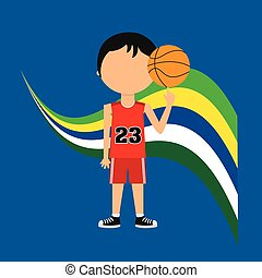 cartoon basketball player brazilian label