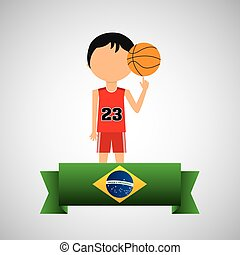 cartoon basketball player brazilian label