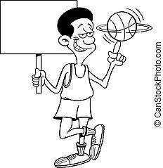 Cartoon basketball player holding a