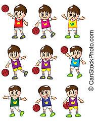 cartoon basketball player icon