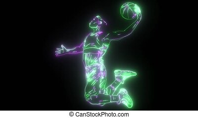 cartoon basketball player is moving dribble with a smile - ...