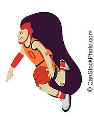 Cartoon basketball player moving forward with the ball