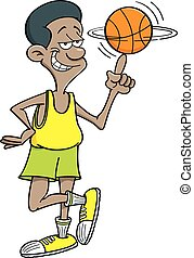 Cartoon basketball player spinning