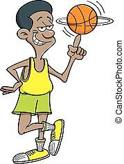 Cartoon basketball player spinning