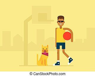 Cartoon basketball player with his dog near basketball hoop on the city background. Flat illustration.