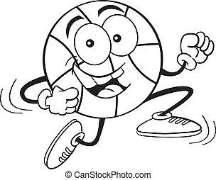 Cartoon Basketball Running (Black a