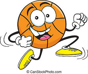Cartoon Basketball Running
