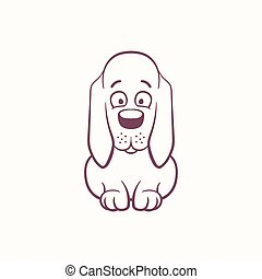 Cartoon Basset Hound in the ink contour style