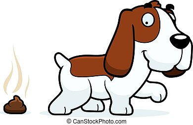 Cartoon Basset Hound Poop