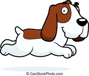 Cartoon Basset Hound Running - A cartoon illustration of a...