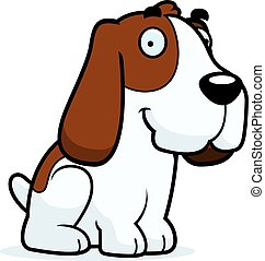 Cartoon Basset Hound Sitting - A cartoon illustration of a...