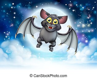 Cartoon Bat and Full Moon Halloween Scene - A cartoon...