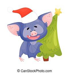 Cartoon Bat Carrying Christmas Tree Vector Illustration