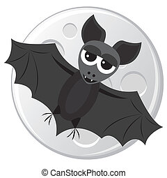 Cartoon bat flying on the moon background
