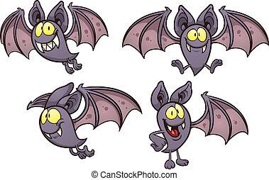 Cartoon bat in different poses. Vector clip art illustration...