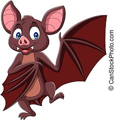 Cartoon bat isolated on white background - Vector...