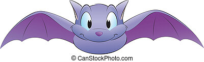 Vector illustration of a cute cartoon bat. Grouped for easy editing