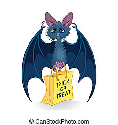 Cartoon bat with Halloween bag Trick or Treat isolated on...