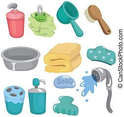 cartoon Bathroom Equipment icon set