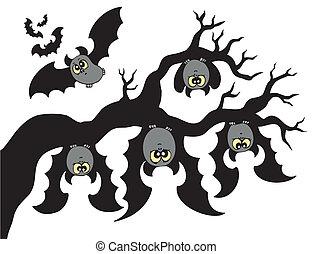 Cartoon bats hanging on branch - vector illustration.