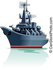 Cartoon battleship. - Vector cartoon battleship. Available...