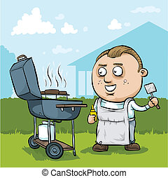 Cartoon BBQ Man - A cartoon man barbeques hamburgers on a...
