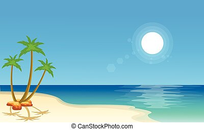 Cartoon beach scenery collection stock