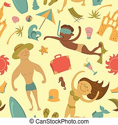 Cartoon beach seamless pattern