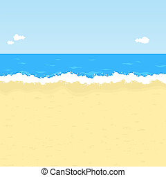 Cartoon beach - Seaside vector illustration with space for...