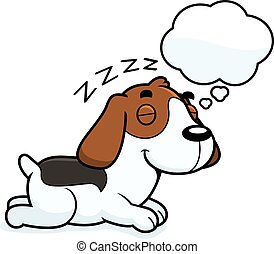 Cartoon Beagle Dreaming - A cartoon illustration of a Beagle...