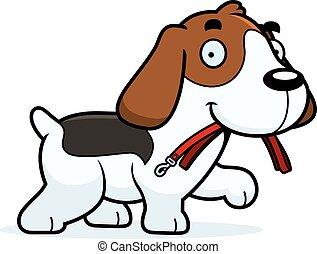 Cartoon Beagle Leash - A cartoon illustration of a Beagle...