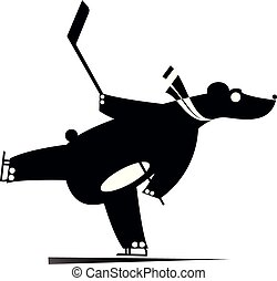Cartoon bear an ice hockey player black on white illustration
