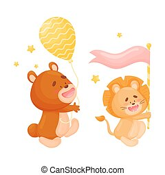 Cartoon bear and lion. Vector illustration on a white background.