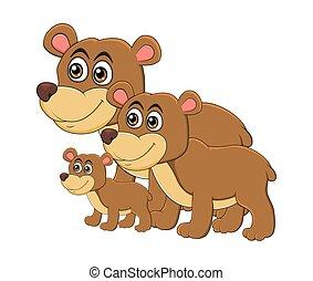 Cartoon bear animal family isolated on white background