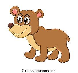 Cartoon bear animal isolated on white background