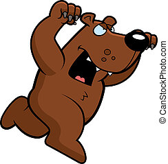 A cartoon bear running to attack with claws out.
