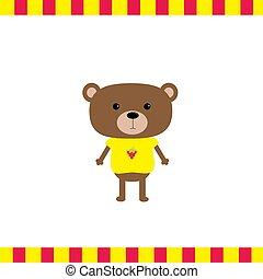 Cartoon bear boy card Flat design