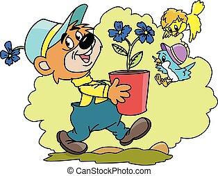 Cartoon bear carrying a flower pot full of blue flowers vector illustration