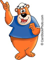 Cartoon bear character wearing a white hat talking to children vector illustration
