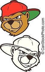 Cartoon bear character with cap