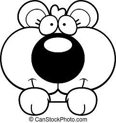 Cartoon Bear Cub Peeking - A cartoon illustration of a bear...