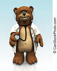 Cartoon bear dressed as doctor.