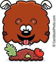 Cartoon Bear Eating - A cartoon illustration of a bear...