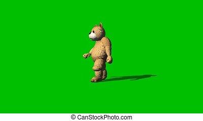 cartoon bear goes backwards on green screen